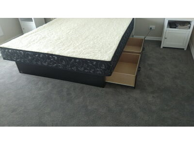 king waterbed with 4 drawer base
